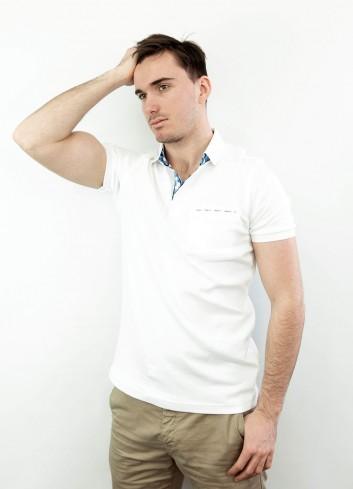Polo manche courte carreaux avec poche